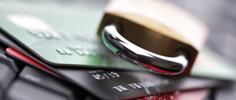 Keep you personal and financial formation secure. Padlock on credit cards.